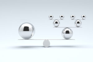 Balancing balls concept to show how specifying ERP requirements can be a balancing act
